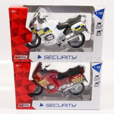 Motorky Security Police - Fire - 1:18 ass
