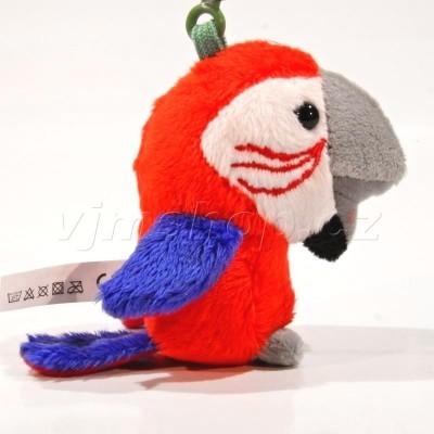 Plyšový přívěšek Papoušek červený 8cm