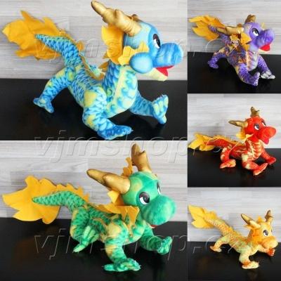 Plyšový Čínský drak 70cm mix barev
