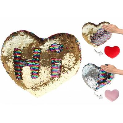 Polštářek srdce s flitry 30cm zlaté nebo stříbrné