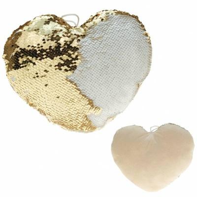 Polštářek srdce s flitry 30cm zlaté krémové