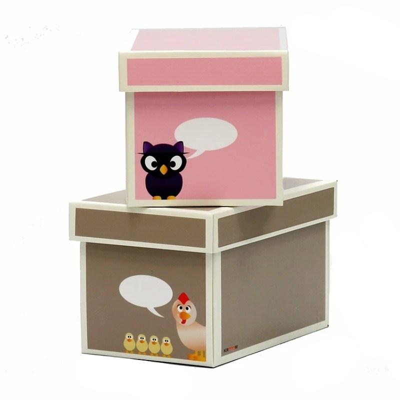 Krabice růžová hnědá 2ks menší 21x26x15cm