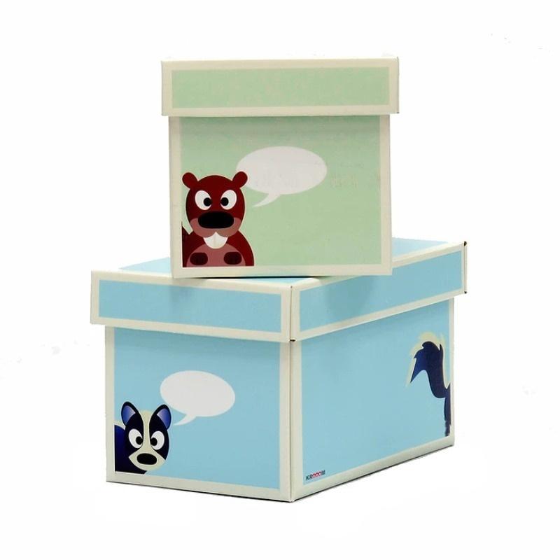 Krabice zelená modrá 2ks menší 21x26x15cm