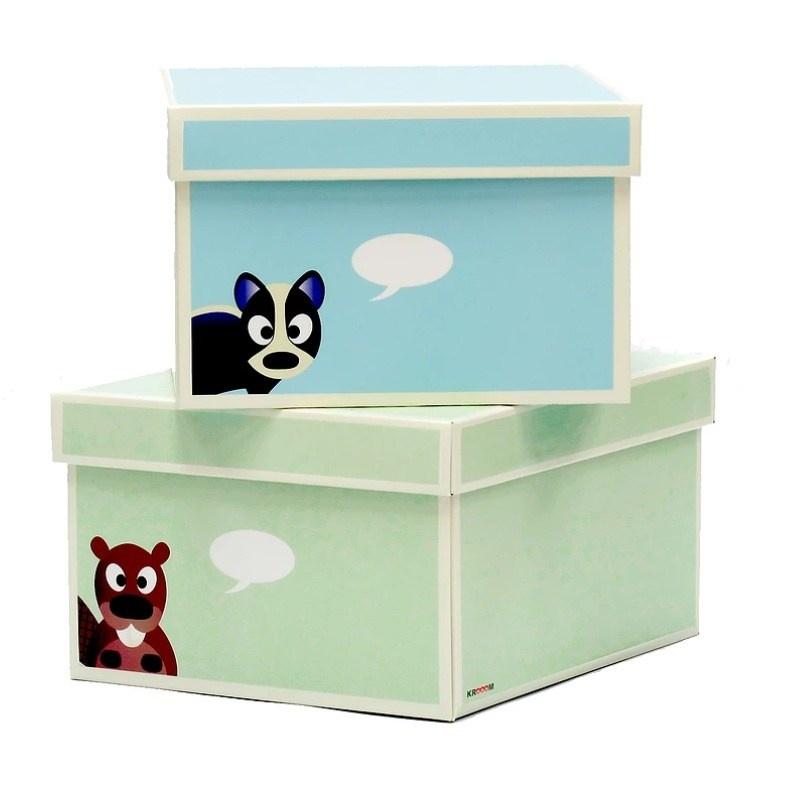 Krabice zelená modrá 2ks větší 28x35x15cm